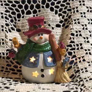 Christmas Ceramic Snowman Votive